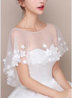 Wrap Wedding Tulle Sleeveless Lace Ivory Wraps #125001, JJsHouse.co.uk