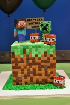Cake from a Minecraft Party #minecraft #partycake.  Need to make this for my sons.