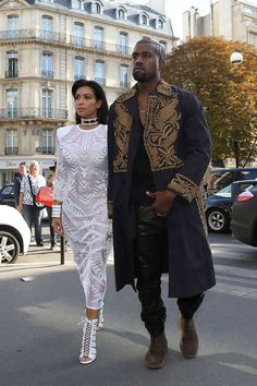 Kim Kardashian and Kanye West looking regal in Paris
