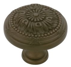 """Round Vintage Knob Bronze Vintage Floral 32Mm L-P10114-TBZ-C Traditional and timeless, the Provincial Antiques collection adds comfort and warmth through its detailed and elegant designs. These designs accent any cabinetry or furniture beautifully. •Diameter: 1 1/4"""" (32mm)  •Projection: 1 1/8""""  •Finish: Tumbled Bronze  Comes with 1"""" screws 3/4"""" doors or drawer faces.  Liberty Hardware Provincial Antique® Collection"""