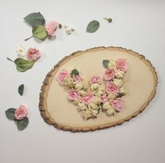 DIY, handmade wood and floral monogram. Use a wood piece to make a stunning monogram! Great for a bridal shower gift or wedding gift.