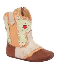 This Green & Pink Floral Cutout Leather Cowboy Bootie - Kids is perfect! #zulilyfinds