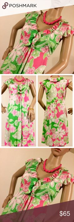 "Lilly Pulitzer Clare Dress Beautiful, classic, sweet and flirty Clare dress by Lilly Pulitzer in the color ""Prep Green"" and the pattern ""Hit the Spot"".  Features a feminine ruffle v-Neck with an empire waist and cap sleeves. 73% silk 27% cotton (silk jersey). EUC. No trades. Lilly Pulitzer Dresses Midi"