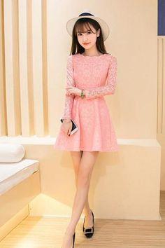 Lace Casual Dress Long Sleeve Party Mini Dresses 523b8b3536b4