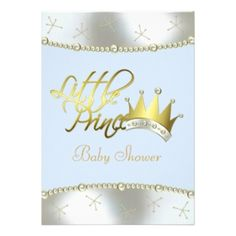 Elegant Blue and Gold Little Prince Baby Shower Custom Announcement