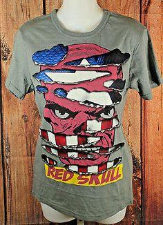 Marvel Comics Gray Red Skull Tee Shirt Womens Size Small NEW