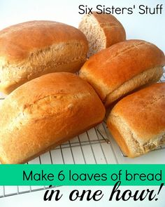 Making bread doesn't have to take all day - this simple recipe for Whole Wheat Bread makes 6 loaves in only one hour! We are sharing our family recipe for this delicious bread dough that can also be used to make cinnamon rolls and breadsticks! Tortillas, Scones, Bread Recipes, Cooking Recipes, Budget Recipes, Skillet Recipes, Cooking Tools, Family Recipes, Croissants