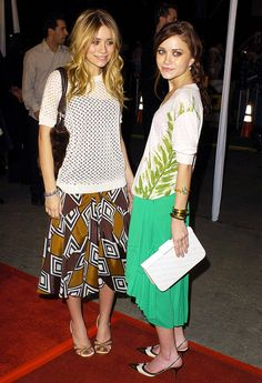 Mary-Kate and Ashley Olsen in skirts and heels
