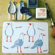 Hand carved seagull rubber stamps
