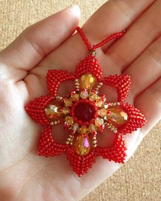 Red and Gold Christmas Snowflake beaded snowflake ornament