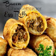 Bacon Cheeseburger Egg Rolls: 1 pound lean ground beef, 1/2 onion finely chopped, 4 slices of bacon chopped, 1 tablespoon ketchup, 2 tablespoons barbecue sauce, 1 teaspoon yellow mustard, 1 teaspoon of Worcestershire sauce, 1 1 2/ cups cheddar cheese shredded, 20 egg roll wrappers, oil for frying
