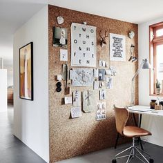"""What a great idea!!!! For your office, cover a panel from floor to ceiling with cork board, and you've got a giant sized mood board, calender, planning…"""