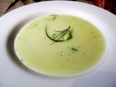 Carnival's Cucumber Soup (chilled) recipe  Ingredients:  1 lb. cucumbers peeled & minced, 1/4 cup chopped onion, 1 pt milk, 1/2 pt heavy cream, 1 garlic clove, 1 1/2 tsp fresh dill, salt & pepper to taste.  Mix everything in a blender. Chill 4 to 6 hours before serving. #cruiselinerecipes