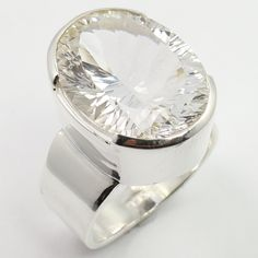 Real CRYSTAL QUARTZ Concave Gemstone 925 Sterling Silver Chunky Ring Size US 8 #SunriseJewellers #Fashion