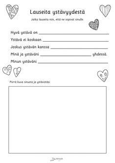 Ystävyys - Värinautit Early Childhood Education, Pre School, Kindergarten, Workshop, Teacher, Activities, Valentines Day, Quotes, Peda