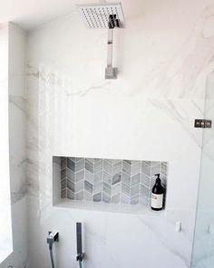 Recessed Shower Shelf, Tile Shower Niche, Bathroom Mirror With Shelf, Bathroom Niche, Shower Shelves, Bathroom Interior, Bathroom Showers, Shower Mirror, Rental Bathroom