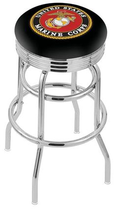 """Use this Exclusive coupon code: PINFIVE to receive an additional 5% off the US Marine Corps 2½"""" Ribbed Ring Bar Stool at SportsFansPlus.com"""