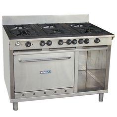 Cocina industrial de 6 hornillas y horno. Marca Mstar