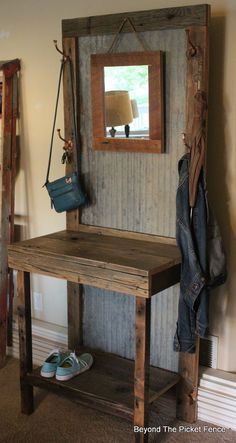 Rustic, Reclaimed Hall Tree- note corrugated metal as back.