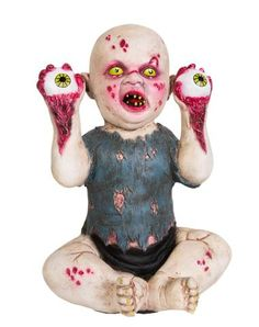 Four Eyes Static Zombie Baby - Send a shiver down your visitors spines' with the Four Eyes Static Zombie Baby. Your guests can run but they can't hide from this baby holding bloodied eyes. New for 2014 for only $39.99