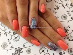 Sweet morning dew gelish and crystal nails 520 over acrylic nails