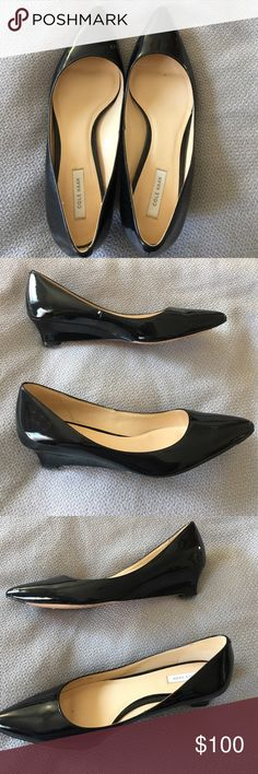 Cole Haan Black Patent Leather Wedge Like new! Cole Haan Shoes Wedges