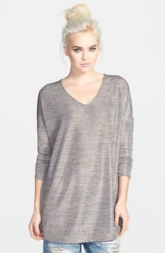 Free shipping and returns on Tildon Silver Foil Tunic at Nordstrom.com. An oversized frame and dolman sleeves with dropped shoulders give this V-neck tunic a stylishly slouchy look. Sparkly silver foil accentuates the heather grey knit.