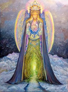 """""""The Angel and the Blue Cat"""" by Josephine Wall -  Can you see the cat? The blue wings are his ears and the hands are part of his face."""