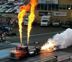 Drag Racing Truck With Shooting Flames