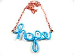 Hope recycled copper wire necklace by gr8byz on Etsy, $14.99