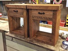 Rustic bedside tables, with drawers