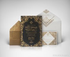 Black and Gold floral meets 1920s great gatsby, art deco wedding invitation suite  - by Atelier Isabey