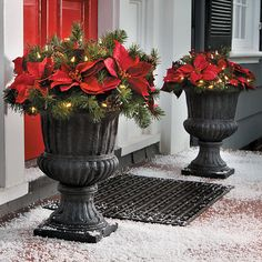 Improvements Pre-Lit Poinsettia Christmas Urn Filler ($70) ❤ liked on Polyvore featuring home, home decor, holiday decorations, christmas decoration, christmas greenery, holiday decoration, indoor christmas decoration, poinsettia, outside holiday decorations and outside home decor