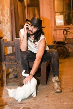 russell brand=an awesome character in Bedtime Stories. Plus a cat. :D