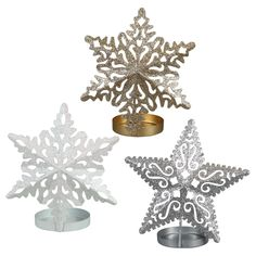 View Glittery Metal Snowflake Candleholders, 5.5