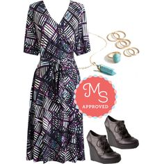In this outfit: At it Again Dress, Just a Stone's Glow Ring Set, Simply Spirited Necklace, Stacked in Your Favor Wedge #artsy #wrapdress #outfits #ootd #style #workwear #geometric #fall #ModCloth #ModStylist #fashion