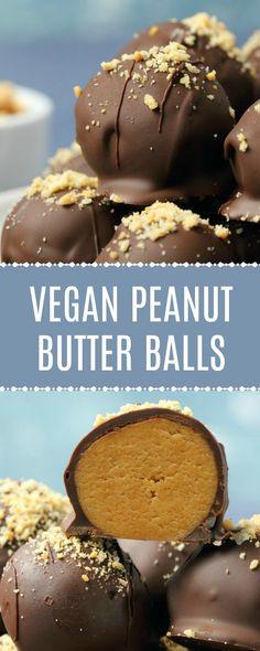 Gorgeous vegan peanut butter balls smothered in vegan chocolate. Id… Gorgeous vegan peanut butter balls smothered in vegan Vegan Candies, Vegan Treats, Vegan Foods, Healthy Foods, Healthy Baking, Desserts Végétaliens, Vegan Dessert Recipes, Yummy Vegan Snacks, Diet Snacks