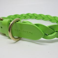 Pastel Green Plaited & Personalised Leather Dog Collar
