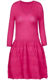 Rose Red V Neck Long Sleeve Cable Knit Sweater Dress