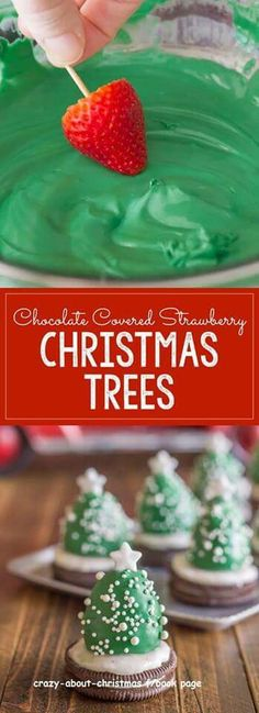 These Chocolate Covered Strawberries that are set on Oreo cookies and turned into Christmas Trees are a fun and easy Christmas project to do with your kiddos! Great for that Winter Holiday Christmas Party for the kids. Holiday Snacks, Christmas Party Food, Xmas Food, Christmas Sweets, Christmas Cooking, Noel Christmas, Christmas Goodies, Simple Christmas, Holiday Recipes