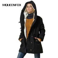 dbb39d98d1 MQUEENFOX 2017 New Plus Size Winer COat Women Winter Jacket Cotton Padded  Female Long Section Cashmere
