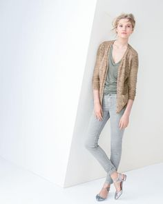 J.Crew lighter neutrals -- cardigan sweater, linen v-neck pocket tee, skinny washed twill utility pant.
