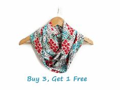 Floral Flower Cotton Coral Turquoise infinity Scarf by HeraScarf