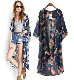 2015new Summer Women Floral Print Chiffon Long Cardigan Blouse Beach Kimono Tops Loose Fit Plus Size Streetwear Coverup from Semonguo,$22.52 | DHgate.com