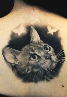 Black cat 3d head tattoo - Fashion Today