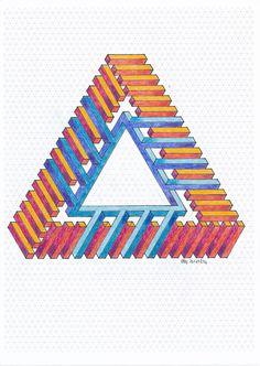 #impossible #penrose #triangle #isometric #geometry #symmetry #handmade #mathart #regolo54 #escher #oscareutersvärd