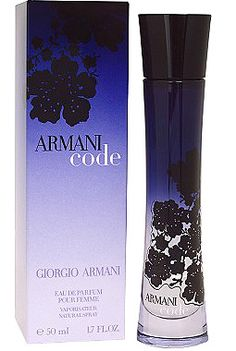 Armani Code for Women Giorgio Armani 2006 | Top Notes : Jasmine, Italian Orange, Bitter Orange | Middle Notes : Orange Blossom, Jasmine, Ginger | Base Notes : Vanilla, Honey, Sandalwood |