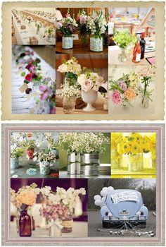 Flowers in jars... love the bottom left one!