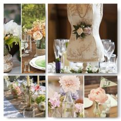 Vintage mood board in soft pinks and peaches, its the attention to detail that makes this styling beautiful.