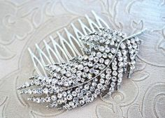 Beautiful Silver hair comb leaf feather by BeautifulhandmadeGB